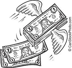 cipzár pénz, el, skicc