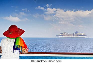 cirkálás, hölgy, hajó