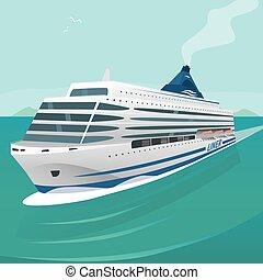 cirkálás, lenget, személyszállító hajó, át, tenger, darabol, nyílik