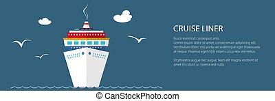 cirkálás, tenger, hajó, transzparens