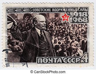 cirka, 1968, lenin, bélyeg, vradimir, -, szovjetúnió, nyomtatott, portré, :, látszik
