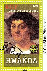 cirka, columbus, bélyeg, :, -, ruanda, kristóf, nyomtatott, portré, 2009, látszik