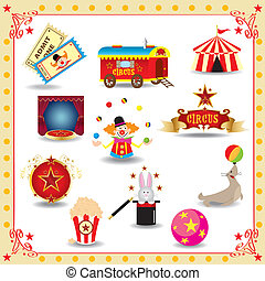 cirkusz, funy, ikonok