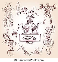 cirkusz, ikonok, szüret, állhatatos