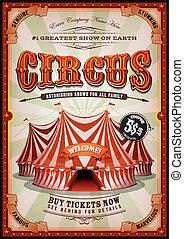 cirkusz, nagy, szüret, tető, poszter