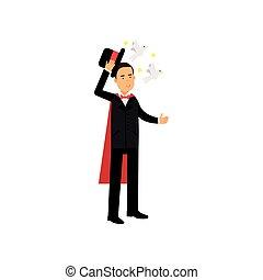 cirkusz, repülés, tető, előadó, előadó, ábra, trükk, finom, vektor, black kalap, illeszt, varázsló, gerle