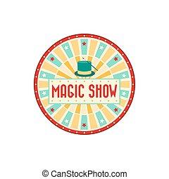 cirkusz, tető, varázslatos, transzparens, előadás, fogadtatás, nagy, hirdet