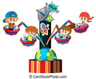 cirkusz, ufo, lovaglás, lovagol, gyerekek