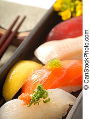 citrom, aprófa, sushi, japán, csapás, nigiri