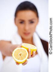 citrom, nő, feláll, friss, becsuk, kiállítás