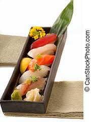 citrom, sushi, tálca, ázsiai, nigiri