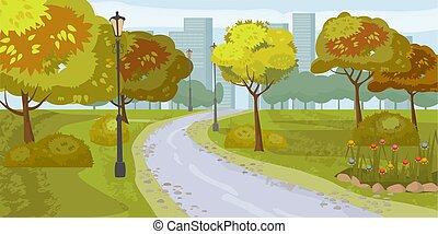 city., illustration., liget, elszigetelt, háttér., vektor, közönség, táj
