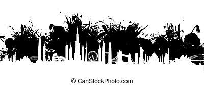 cityscape, loccsanás, háttér