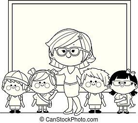 class., színezés, diákok, tanár, vektor, fekete, white oldal