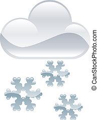 clipart, hó, időjárás, pehely, il, ikon