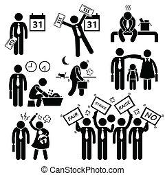 cliparts, munkás, probléma, anyagi