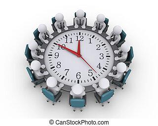 clock-table, gyűlés, mindenfelé, businessmen