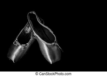 closeup, balett, black cipő, fehér