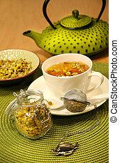 closeup, chamomile tea