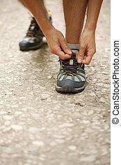 closeup, cipők, összekötés, sport
