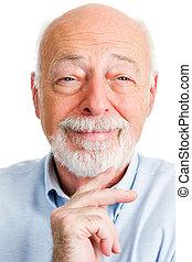 closeup, portré, ember, mosolygós, idősebb ember
