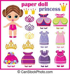 clothes., dolgozat, állhatatos, hercegnő, baba