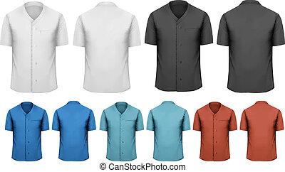 clothes., színes, fekete, állhatatos, vektor, munka, fehér