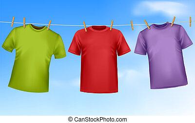 clothesline., állhatatos, színezett, trikó, függő