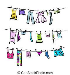 clothesline., skicc, tervezés, -e, öltözék