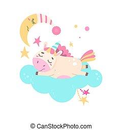 cloud., csinos, sweetly, alszik, egyszarvú