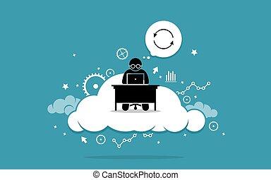 cloud., számítógép, dolgozó, ember