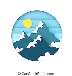 clouds., dolgozat, hó, style., frame., elvág, hegy, karika, peaks., táj, ég, nap