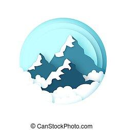 clouds., dolgozat, hó, style., frame., elvág, hegy, karika, peaks., táj, ég