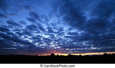 cloudscape, állhatatos, félhomály, színhely, nap