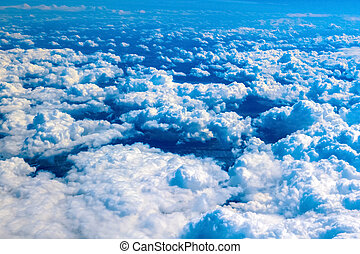 cloudscape, elhomályosul, felül, kilátás