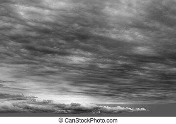 cloudscape, elhomályosul, viharos, szürke, felhős, sötét, nap