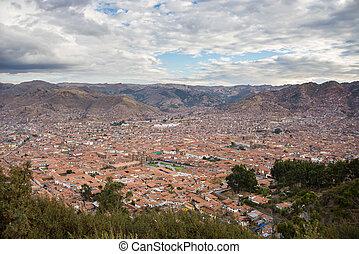 cloudscape, terjedő, cusco, felül, cityscape, peru