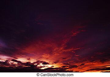cloudscape, után, félhomály, naplemente ég