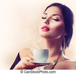 coffee., vagy, leány, tea, részeg kávécserje, gyönyörű