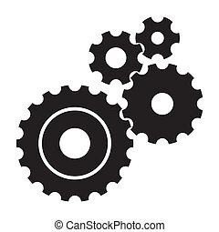 cogs, fehér, black háttér, (gears)