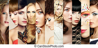 collage., arc, szépség, nők