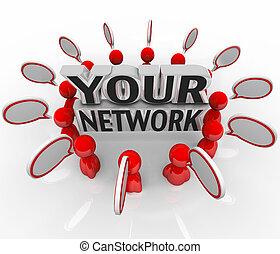 colleagues, hálózat, emberek társalgás, karika, barátok, -e