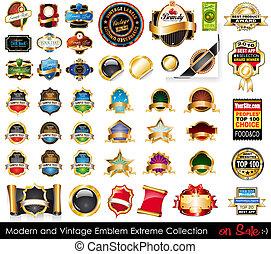collection., emblémák, extrém, modern, szüret