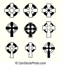 collection., kereszt, aláír, design., skót, keresztbe tesz, ír, állhatatos, vallásos, kelta