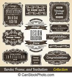 collection., keret, calligraphic, meghívás, sarok, elem, határ
