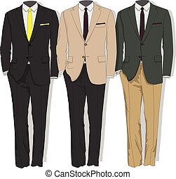 collection., suit., ember, vector., öltözék