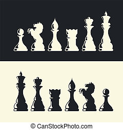 collection., vektor, sakk vég