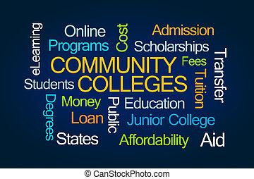 colleges, szó, közösség, felhő