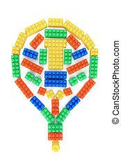 colorful csillogó, műanyag, alakít, apró, gumó, tégla