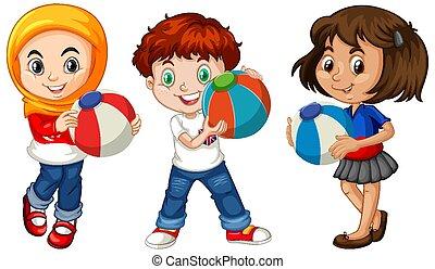 colorful labda, birtok, gyerekek, különböző, három
